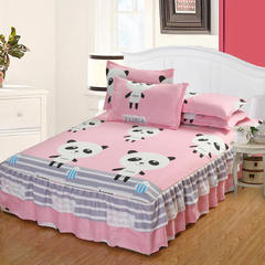 双边磨毛印花床裙 枕套一对 贝贝熊