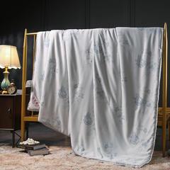 2018新款蚕丝被(拉菲花园)木棉 200X230cm 拉菲花园-蓝灰(木棉)