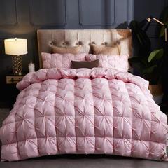 2018新款扭花全棉羽绒被 160*210cm/5.0斤 粉色