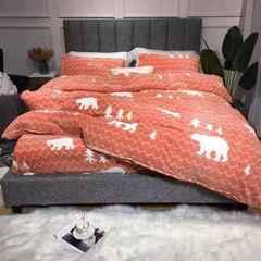 2018新款A类牛奶绒四件套 1.5m(5英尺)床 北极熊桔