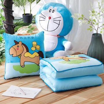 ABC抱枕被 短毛绒卡通绣花抱枕被子两用靠枕被靠垫被午休被空调被