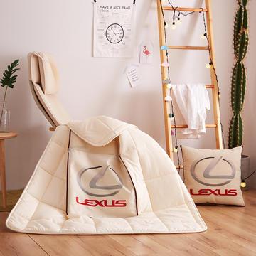 亚麻靠垫抱枕 汽车抱枕被子两用车标车载靠垫被