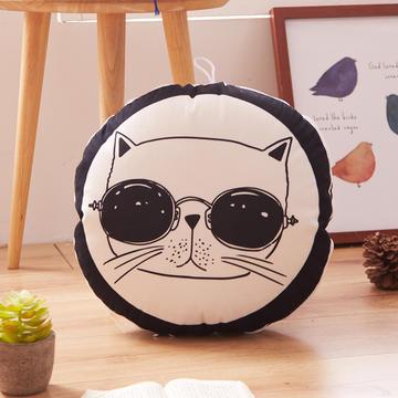 圆形抱枕靠垫 多功能黑白抱枕被子两用空调被办公室靠枕靠垫被