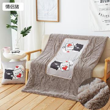 小兔毛加绒抱枕靠垫 毛绒两用抱枕被汽车空调被办公室午休靠垫被