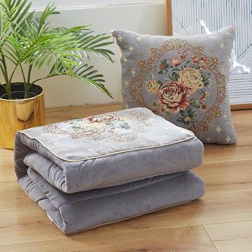 雪尼尔提花抱枕靠垫 加绒水晶绒加厚抱枕被两用靠垫被办公室午睡空调被子