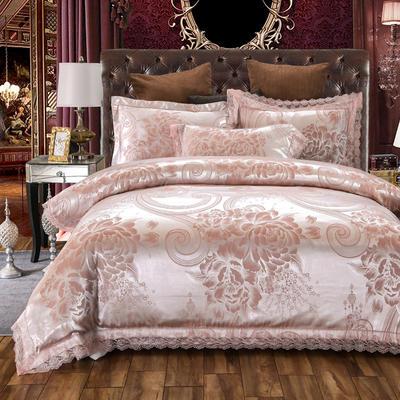 2019新款全棉貢緞提花四件套 1.5m(5英尺)床單款 花開璀璨粉灰