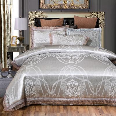 2019新款全棉貢緞提花四件套 1.5m(5英尺)床單款 爵士情懷銀灰
