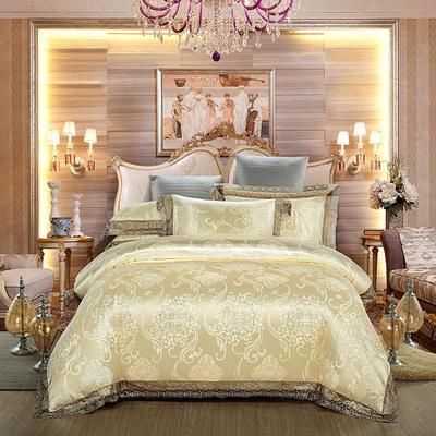 2019新款全棉貢緞提花四件套 1.5m(5英尺)床單款 浪漫婚典