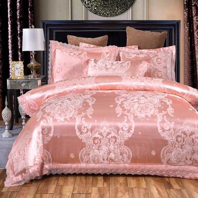 2019新款全棉貢緞提花四件套 1.5m(5英尺)床單款 美麗人生玉色