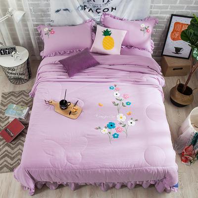 2018新款毛巾绣夏被四件套 200X230cm 紫色