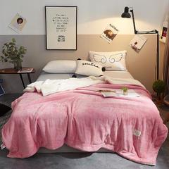 2018新款法兰绒双拼压线毛毯 150cmx200cm 豆沙(压线)