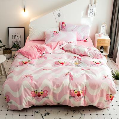 2018新款保暖棉加绒系列四件套 1.2/1.35米床单款三件套 粉红豹