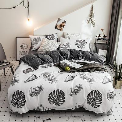 2018新款保暖棉加绒系列四件套 1.2/1.35米床单款三件套 黑白调