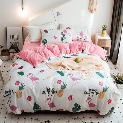 2018新款保暖棉加绒系列四件套 1.2/1.35米床单款三件套 火烈鸟派对