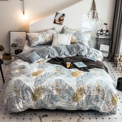 2018新款保暖棉加绒系列四件套 1.2/1.35米床单款三件套 金叶