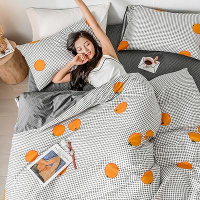 2019新款全棉印象风系列四件套 1.35m床单款三件套 格子橙