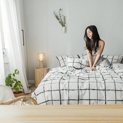 2019新款全棉印象风系列四件套 1.35m床单款三件套 墨