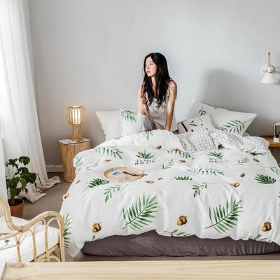 2019新款全棉印象风系列四件套 1.35m床单款三件套 一颗松果-白