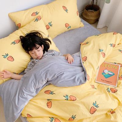 嵌绳棉加绒四件套 滚边设计 水晶绒四件套 法莱绒四件套 1.35m床单款三件套 小萝卜