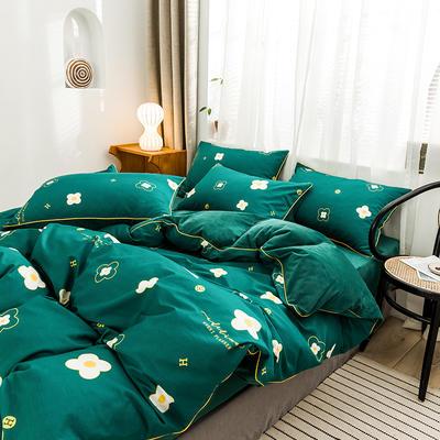 嵌绳棉加绒四件套 滚边设计 水晶绒四件套 法莱绒四件套 1.8m(床单款四件套) 富贵