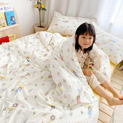 2020新款全棉嵌绳四件套 1.2m床单款三件套 花伞女孩