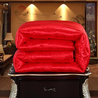 2018新款贡缎牡丹花提花蚕丝被 180x220cm(10斤) 大红