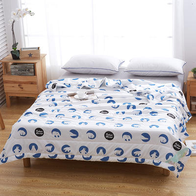 2018新款水洗棉印花夏被 150x200cm(1.6斤) 北极熊-蓝