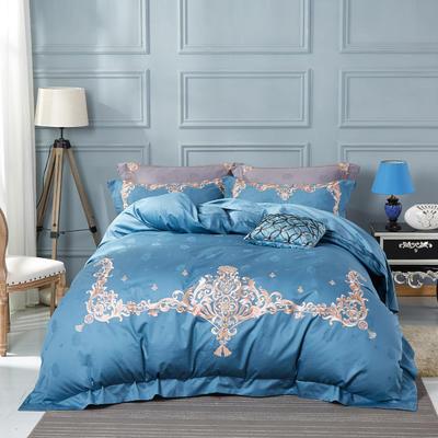 2018新款欧式宫廷奢华系列四件套 1.8m(6英尺)床 爱丽丝-时尚蓝
