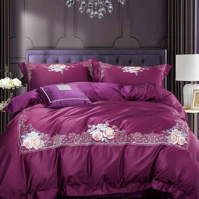 2018新款优雅时尚风系列四件套 1.8m(6英尺)床 玛莎蒂-紫红