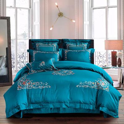 2018新款60S长绒棉四件套 1.5m(5英尺)床 奥尼尔--钻石蓝