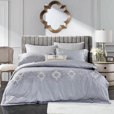 2018新款60s长绒棉欧式奢华风格 刺绣四件套 1.8m(6英尺)床 洛丽塔-灰