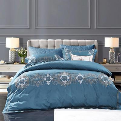 2018新款60s长绒棉欧式奢华风格 刺绣四件套 1.8m(6英尺)床 洛丽塔-蓝