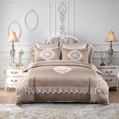 2018新款60支埃及长绒棉四件套-艾琳 1.5m(5英尺)床 艾琳-咖