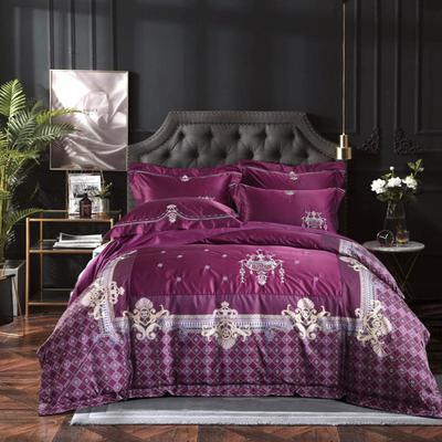 2018新款欧式宫廷奢华系列四件套 1.5m(5英尺)床 罗浮宫-紫红