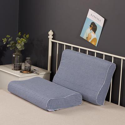 2020新款乳胶枕系列—纯棉水洗棉乳胶枕(40*60cm) 纯棉水洗蓝细条(40*60cm)