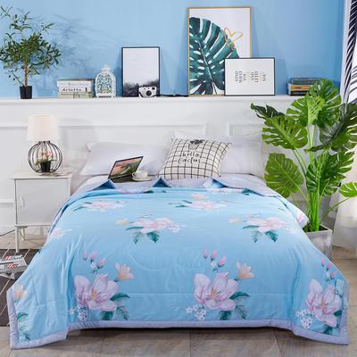 2020新款全棉夏凉被纯棉空调被 100x150cm 香榭丽影 蓝