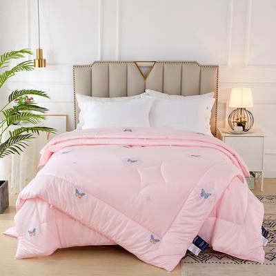 2020新款针织棉子母被被子被芯冬被 子被150x200cm  3.8斤 蝶舞 粉