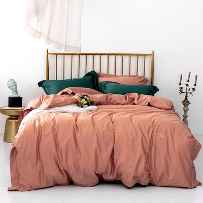 2019新款长绒棉简约绣花系列四件套 1.8m(6英尺)床 熔岩橙