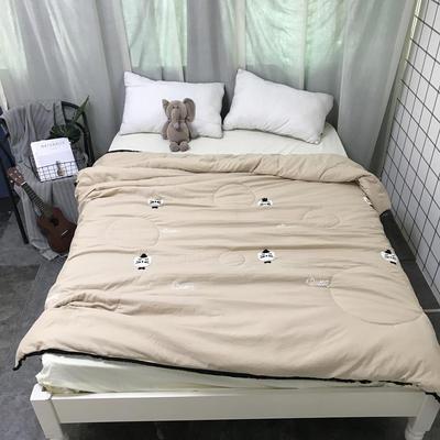 2018新款ins水洗棉毛巾绣夏被 150x200cm 猫咪-卡其