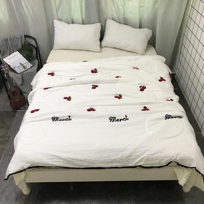 2018新款ins水洗棉毛巾绣夏被 150x200cm 樱桃-白