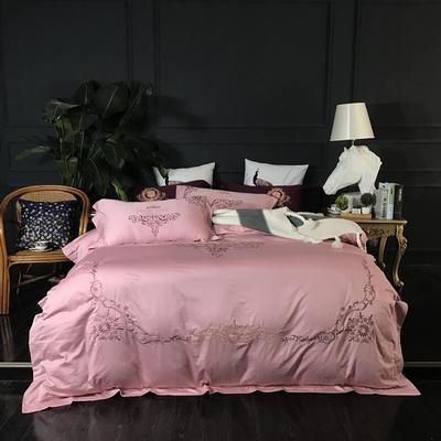 2018新款60长绒棉绣花四件套 1.8m(6英尺)床 格纱魅影