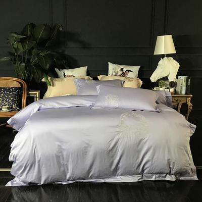 2018新款60长绒棉绣花四件套 1.8m(6英尺)床 华尔曼舞曲  浅紫