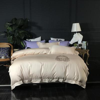 2018新款60长绒棉绣花四件套 1.8m(6英尺)床 华尔曼舞曲米驼
