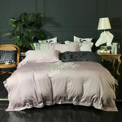 2018新款60长绒棉绣花四件套 1.8m(6英尺)床 孔雀