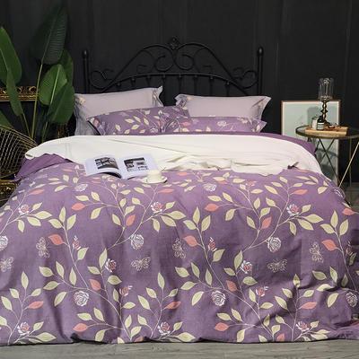 2018秋冬新款活性超柔加厚磨毛四件套 1.8m(6英尺)床 一季花开-紫