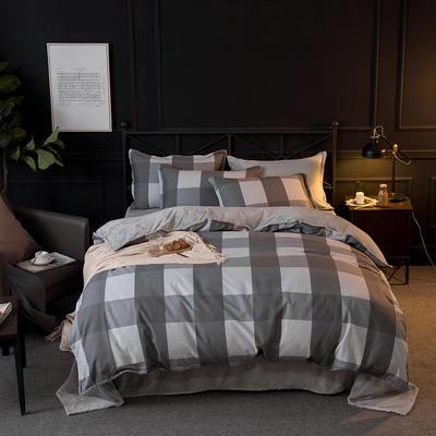 2018秋冬新品  A棉B绒功能型保暖四件套 1.2m(4英尺)床三件套 蔓格尼 -灰