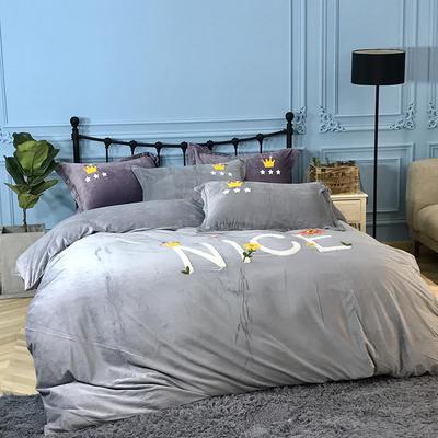 2018新款毛巾绣水晶绒四件套 1.5m(5英尺)床 典雅皇冠 绅士灰