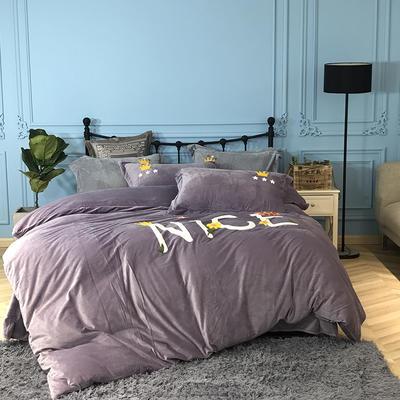 2018新款毛巾绣水晶绒四件套 1.5m(5英尺)床 典雅皇冠 紫灰