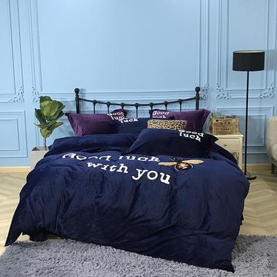 2018新款毛巾绣水晶绒四件套 2.0m(6.6英尺)床 浪漫蜜语 蓝