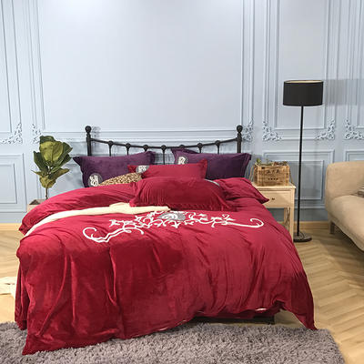 2018新款毛巾绣水晶绒四件套 1.5m(5英尺)床 劳斯莱斯 经典红